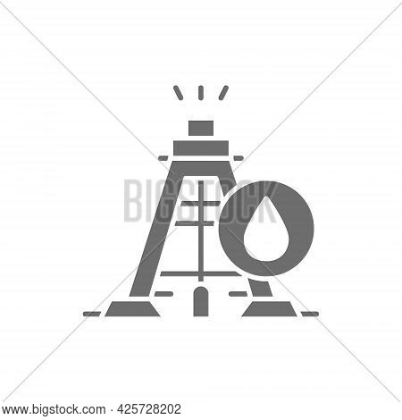 Industrial Drilling Rig Tower Platform, Oil Fuel Equipment Gray Icon.