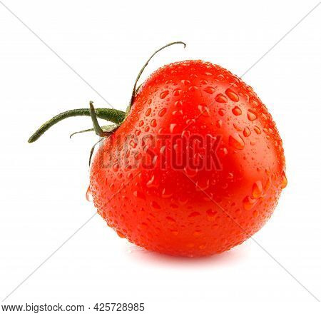 A Ripe Red Tomato With Drops Of Water On The Peel Is Isolated On A White Background. Full Clipping P
