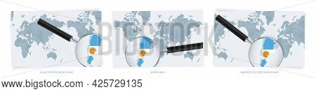 Blue Abstract World Maps With Magnifying Glass On Map Of Argentina With The National Flag Of Argenti