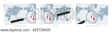 Blue Abstract World Maps With Magnifying Glass On Map Of Peru With The National Flag Of Peru. Three