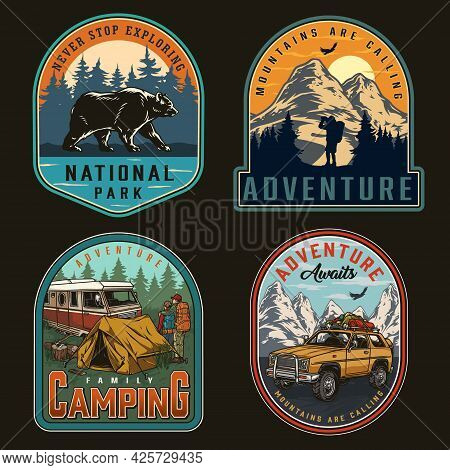 Summer Recreation Colorful Vintage Labels With Walking Bear Travel Car Family Couple Near Tent And M