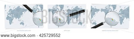Blue Abstract World Maps With Magnifying Glass On Map Of Guyana With The National Flag Of Guyana. Th