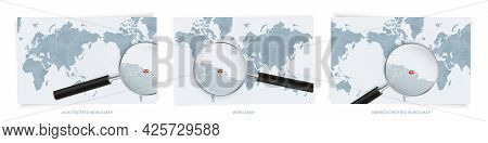 Blue Abstract World Maps With Magnifying Glass On Map Of Suriname With The National Flag Of Suriname