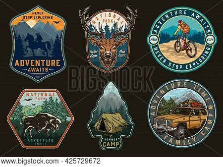 Adventure Time And Camping Vintage Labels With Travel Car Cyclist Traveler Bison Deer Head Man Ridin