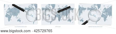 Blue Abstract World Maps With Magnifying Glass On Map Of Honduras With The National Flag Of Honduras