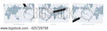 Blue Abstract World Maps With Magnifying Glass On Map Of El Salvador With The National Flag Of El Sa