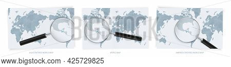 Blue Abstract World Maps With Magnifying Glass On Map Of Guatemala With The National Flag Of Guatema