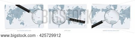Blue Abstract World Maps With Magnifying Glass On Map Of Haiti With The National Flag Of Haiti. Thre