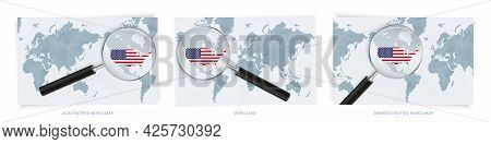 Blue Abstract World Maps With Magnifying Glass On Map Of Usa With The National Flag Of Usa. Three Ve