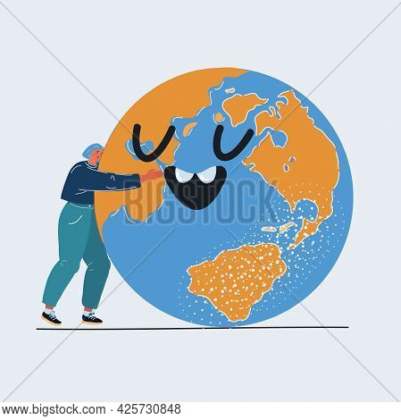 Vector Illustration Of Young Woman Embracing A Giant Smiling Globe