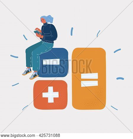 Vector Illustration Of Tiny Woman With Big Calculator Keys. Financial Calculations, Accountant. Acco