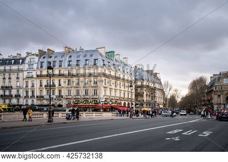 2019, December, 22, Paris, France - View Of Parisian Street With Road With Special Lane For Public T