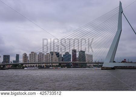 29 June 2021 Rotterdam; The Netherlands; Rotterdam South Bank; Skyline With Erasmus Bridge And The R