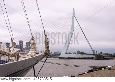 29 June 2021 Rotterdam; The Netherlands; Rotterdam South Bank; Skyline With Erasmus Bridge; Sailing