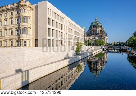 The Berliner Dom With The Reconstructed City Palace Reflected In The River Spree