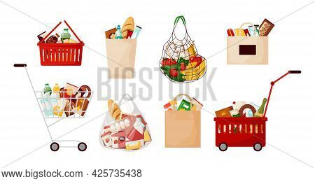 Grocery Food Bags. Supermarket Cart And Basket With Daily Meal Products. Cartoon Paper Sacks For Pur