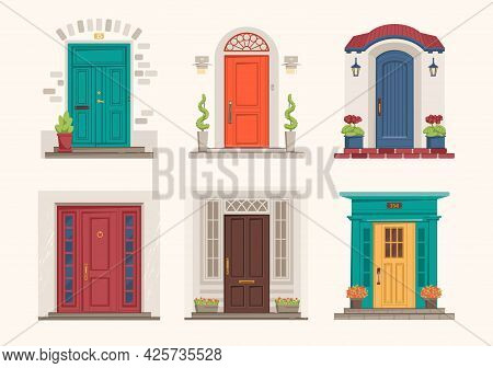 House Doors. Cartoon Front Entrance. Exterior Wall Doorsteps With Porches. Outside Cottage Doorways