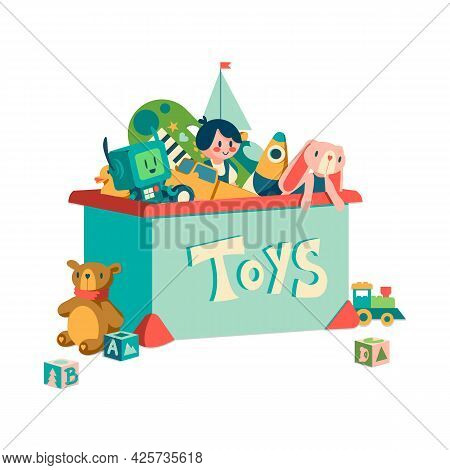 Toy Box. Cartoon Container With Kids Transport And Plush Animals. Doll Or Robot For Infant Play And