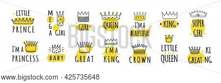 Hand Drawn Crown Logos. Prince And Princess, King Or Queen Graffiti Elements. Yellow Stains And Dood