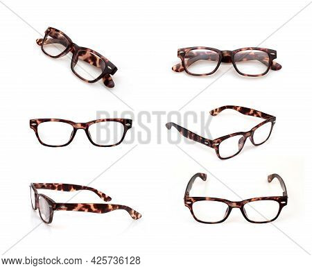 Set Of Glasses Isolated On White Background For Applying On A Portrait