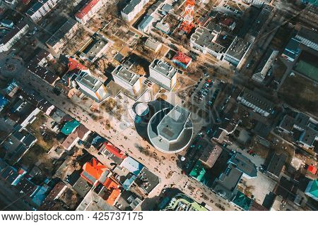 Brest, Belarus. Brest Cityscape Skyline In Spring Day. Birds-eye View Of Residential Districts And B