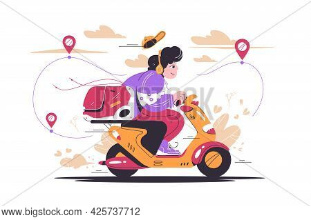 Delivery Man Riding Motorcycle Vehicle Vector Illustration. Online Order Tracking Flat Style. Online