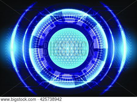 Blue Light Effect. Abstract Hi-tech Background. Futuristic Sci-fi Glowing Hud Circle And Sphere. Hea