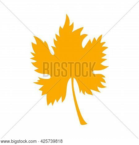 Simple Autumn Leaf, Herbal Element. Fall Orange Grape Leaf. Can Be Used As Sign, Symbol, Icon. Autum
