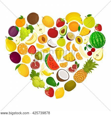 Creative Layout With Heart Shape Of Various Fruits. Heart Made From Grapes, Peach, Watermelon, Melon