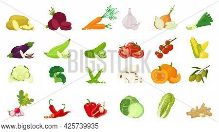 Vector Vegetables Icons Set In Cartoon Flat Style. Collection Farm Product For Restaurant Menu, Mark