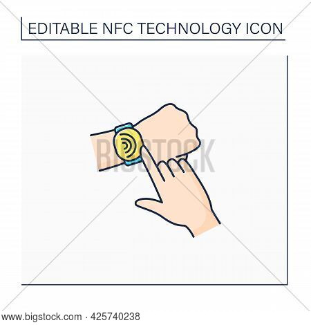 Nfc Color Icon. Safety Payment System On Smart Watch. Fast Bills Paying. Modern Technology. Near Fie