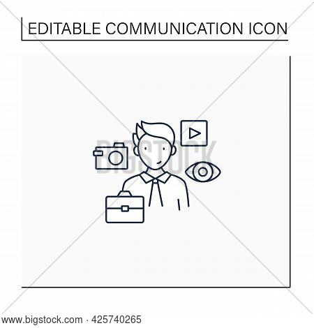 Visual Communication Line Icon. Communicate Using Signs, Typography, Drawing, Video Clip, Advertisin