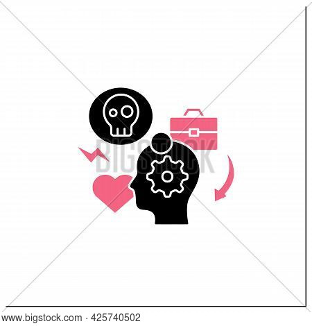 Stress Management Glyph Icon.controlling Person Stress Level. Avoid Stressful Situations. Conflict M