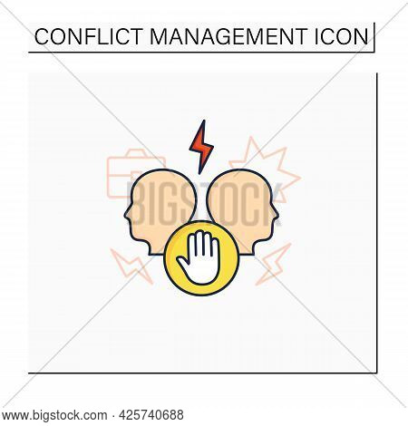 Avoid Conflict Color Icon. Aggravating Conflict Between Two Persons. Fight.misunderstanding Concept.