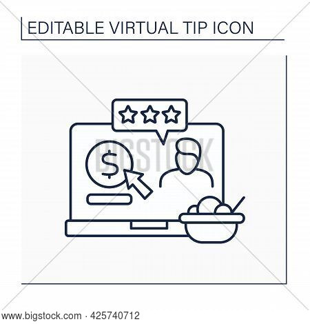 Review Line Icon. Positive Reviews With Donations. Praise For Delicious Food. Online Tips. Virtual T
