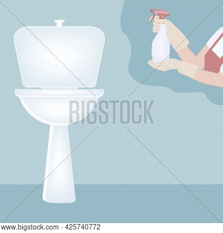 Toilet With A Flush Tank. Gloved Hands Are Holding A Bottle Of Cleaning And Disinfectant - Vector. H