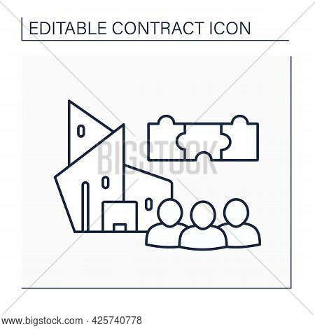 Shareholder Agreement Line Icon.contract Between Shareholders Of A Corporation. Defining Traits, Pri