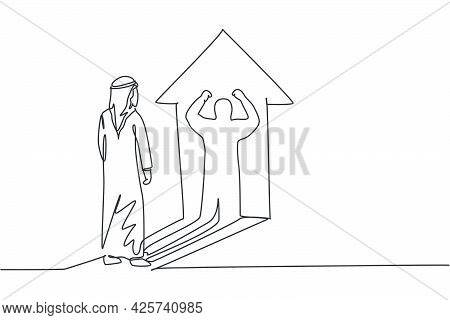 Single One Line Drawing Of Young Arabic Businessman Facing His Muscular Shadow On Wall. Success Cham