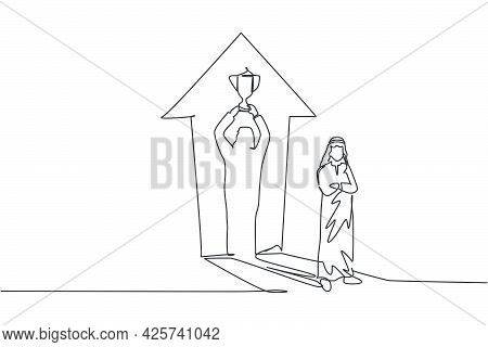 Single Continuous Line Drawing Of Young Arabian Businessman Standing With Shadow Lifting A Trophy On