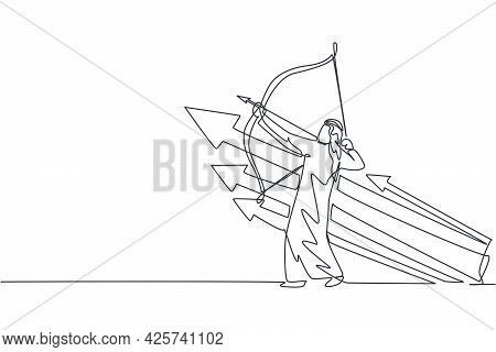 Single One Line Drawing Of Young Arabic Businessman Focus To Release Arrow To Hit Goal Target. Succe