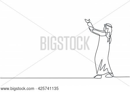 Single Continuous Line Drawing Of Young Arabian Businessman Lifting His Hands Upward Sky To Pray To