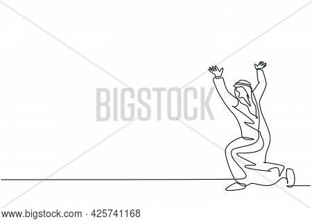 Single Continuous Line Drawing Of Young Arabian Businessman Pose Kneeling Hold Gesture, Lifting Obje