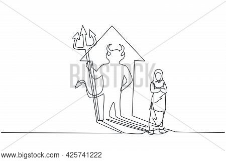 Single Continuous Line Drawing Of Beauty Arabian Female Worker Reflect Devil Shadow On The Wall. Pro