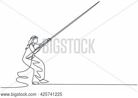 Single Continuous Line Drawing Of Young Arabian Businessman Pulling The Rope Down From The Sky. Prof