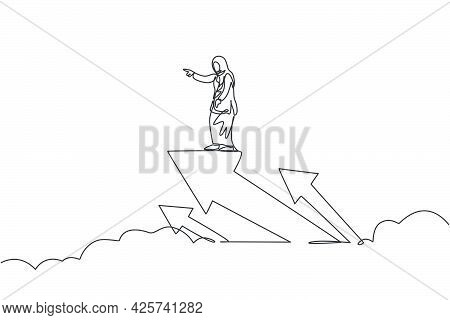Single Continuous Line Drawing Of Young Beauty Arabian Flying With Arrow Up Symbol Through Sky. Prof