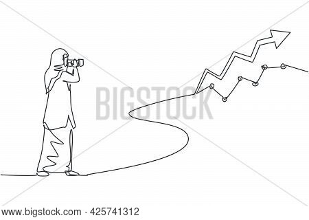 Single Continuous Line Drawing  Young Beauty Arabian Manager Looking Sales Report Graph On Wall. Pro