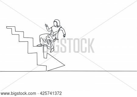 Single Continuous Line Drawing Of Young Beauty Arabian Worker Falling Down From Upstairs. Profession