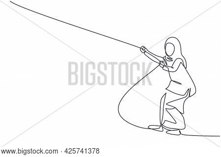 Single One Line Drawing Of Young Smart Arab Business Woman Pulling Rope To Reach Goal Target. Busine