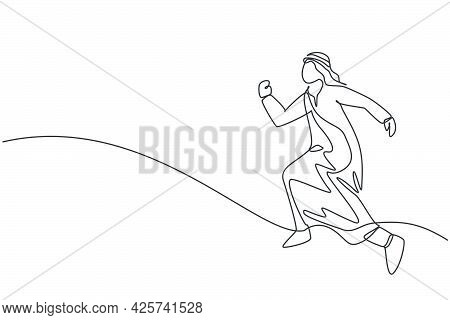Single Continuous Line Drawing Of Young Arabic Businessman Far Jumping Leap To Reach Business Goal.