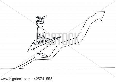 Single One Line Drawing Young Arab Male Entrepreneur Flying With Paper Plane And Analyze Business Op